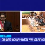 Comisión de Constitución archivó el proyecto de ley de adelanto de elecciones