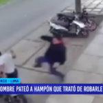 Hombre pateó a ladrón que trató de robarle su moto