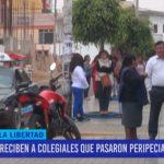 Reciben a colegiales que pasaron peripecias en Ecuador