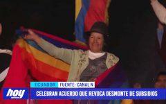 Ecuador celebra acuerdo que revoca desmonte de subsidios