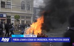 Chile: Piñera levanta estado de emergencia, pero protestas siguen