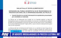 Defensoría advierte irregularidades en proceso electoral UNT