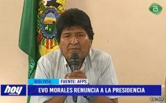 Bolivia: Evo Morales renuncia a la presidencia