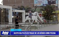 Sujeto usa pileta de pasaje de Los Héroes como piscina